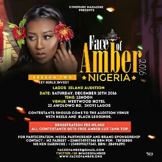 JOIN THE RACE TO BE NEXT SUPERSTAR MODEL AS FACE OF AMBER STORMS LAGOS THIS SATURDAY