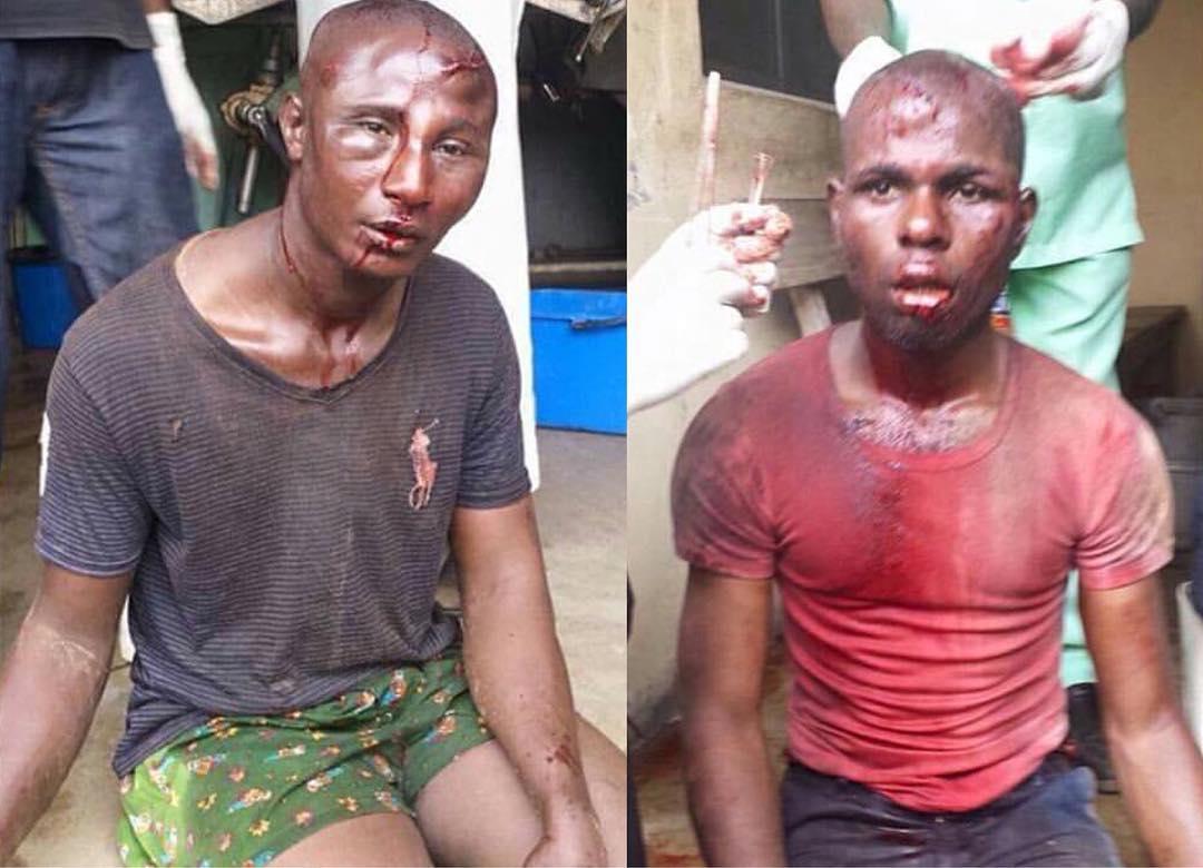 Two men terrorizing Obiaruku community, Delta State, by hanging around banks to rob people, meet their Waterloo