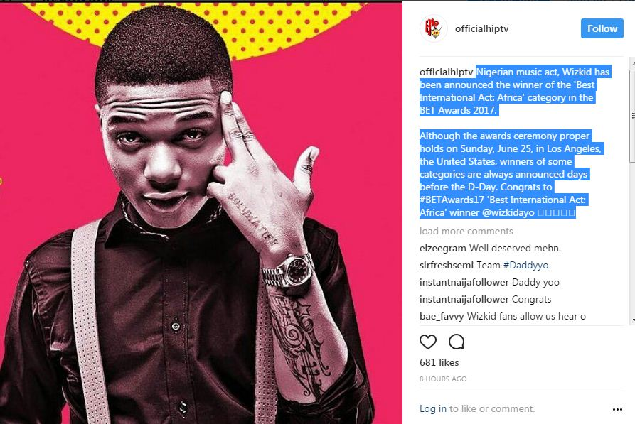 Wizkid has been announced the winner of the 'Best International Act: Africa' category in the BET Awards 2017.