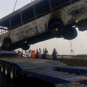 BRT Bus Burns To Ashes In Oworo Lagos