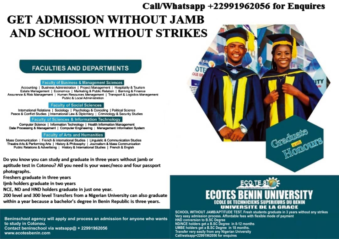 Get Admission Without Jamb And School Without Strikes – Ecotesbenin Uni