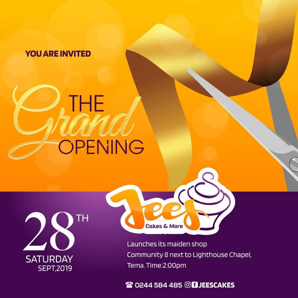 Jees CAKES & MORE Set For Grand Opening on 28th Sept, at Tema.