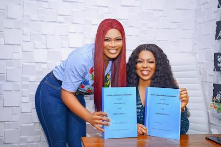 Photos: Debbie Shokoya, Bidemi Kosoko Sign Endorsement Deal With KojHairways